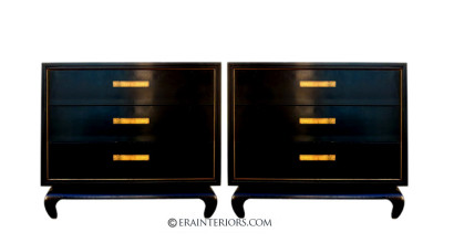 Chinoiserie Black Lacquer Nightstand