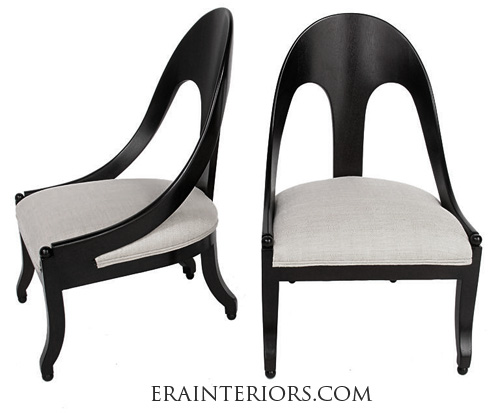 black lacquer spoon back chairs