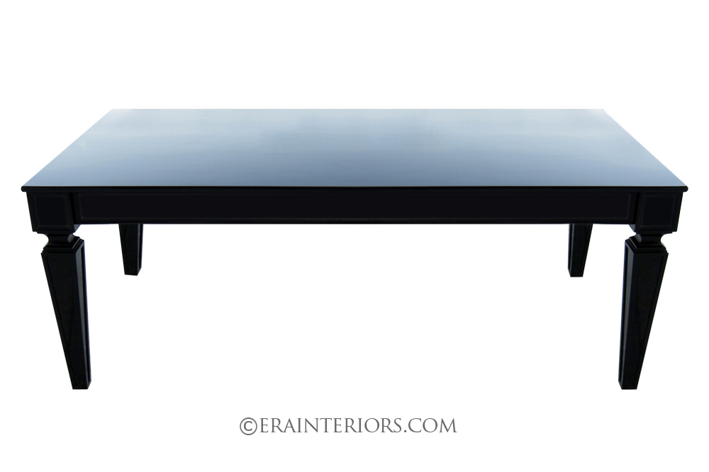 Contemporary black laquer french dining table era interiors for Black dining table