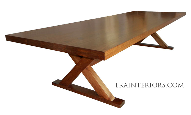 Contemporary Walnut Wood Dining Table