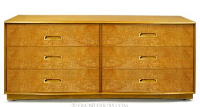 Burl Mid-Century Double Dresser