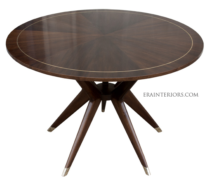 mid century round dining table era interiors. Black Bedroom Furniture Sets. Home Design Ideas