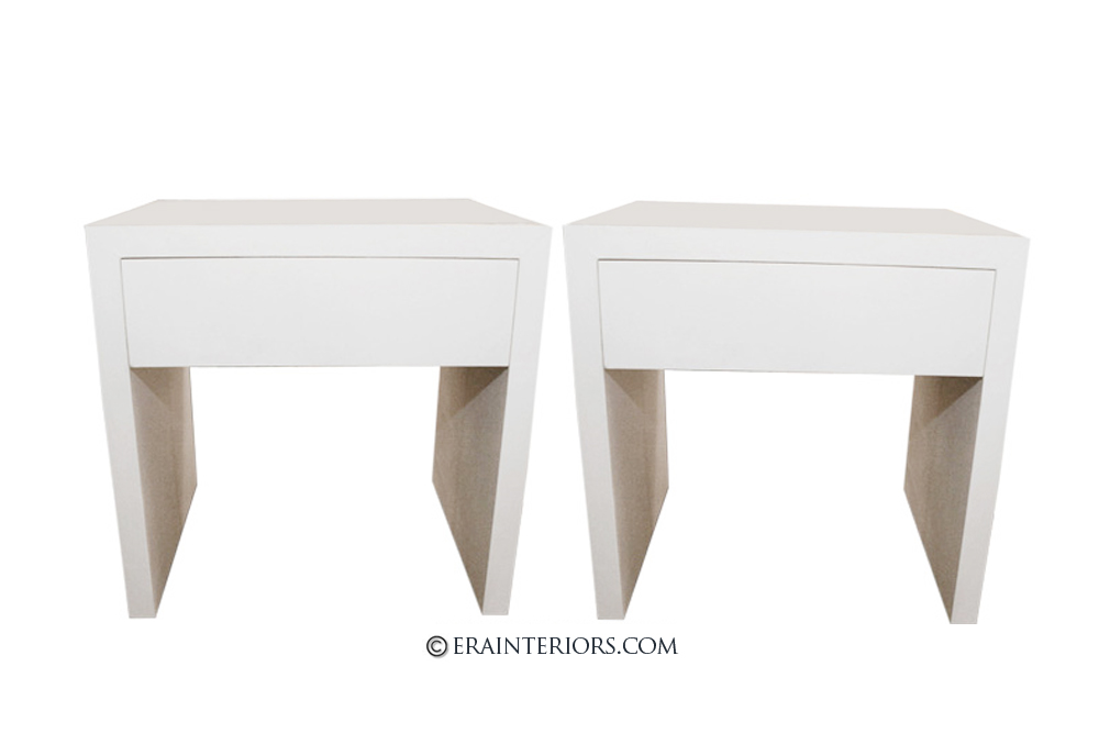 Modern White Lacquer Nightstands