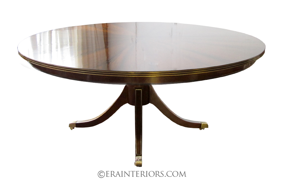 Sheraton Single Pedestal Round Dining Table With Brass Inlay