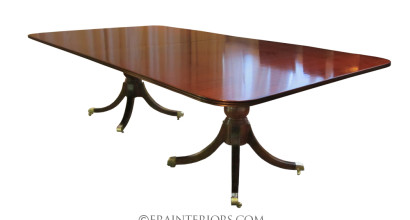 sheraton twin pedestal dining table with plain urn columns